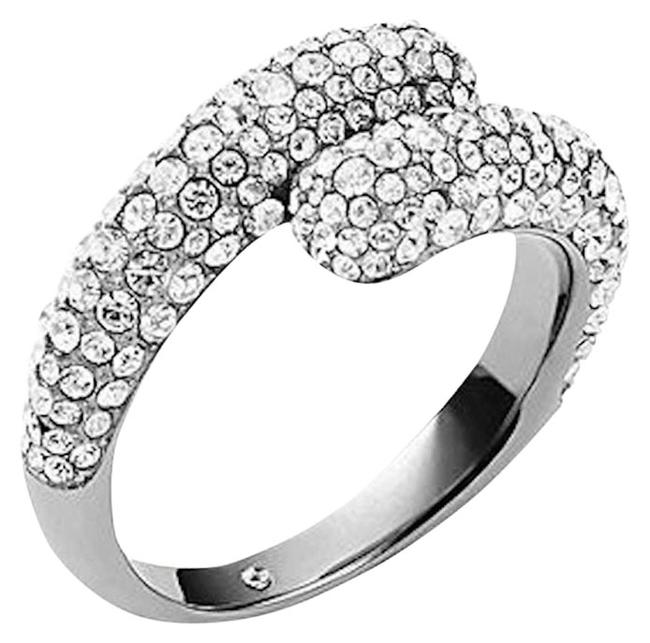 Item - Silver Silvertone Clear Pave Stone Bypass Crossover Size 8 New Ring