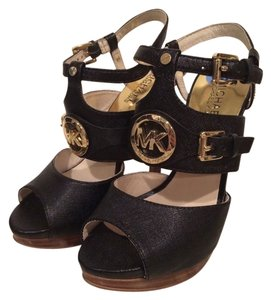 Michael Kors Sandals Leather Black Platforms