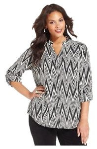 Style & Co Work Dressy New Macy's Top Black and White