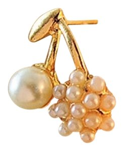 New Gold Tone Cherries Pearl Stud Earrings J2059 Summersale