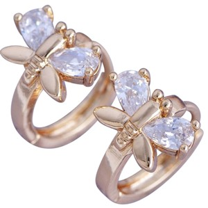Other New 14K Gold Filled Cubic Zirconia Butterfly Hoop Earrings J2061