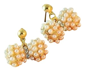 New Gold Tone White Faux Pearl Bow Earrings J2062 Summersale