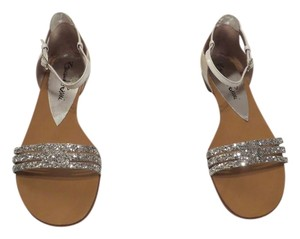 Emanuela Passeri 1007 Glitter Detail Lovely Design Made In Italy White/Silver Sandals