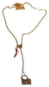 Other New Gold Tone Red Shoe Purse Necklace J2063