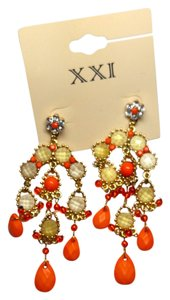 New XXI Chandelier Earrings 4 in. Long Orange Gold J2065