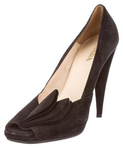 Prada Peep Toe Suede Leather Black Pumps