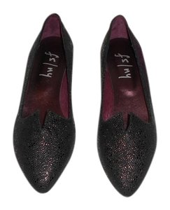 French Sole Jasper Split Vamp Design Black Flats