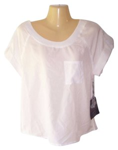 Ali & Kris Short Sleeve Roll Up Sleeve Pullover Front Pocket Top White