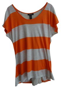 Style & Co T Shirt Light orange and cream striped