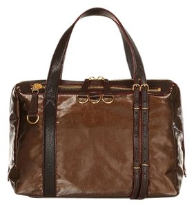 MZ Wallace Leather Satchel in Midnight Bronze Washed Chocolate