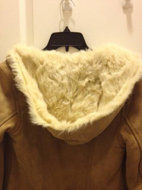 Abercrombie & Fitch Genuine Suede Leather Fur Lined Warm Coat