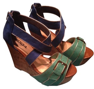 Soda Blu Cork Heel Fun Blue/green Wedges
