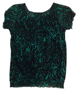 INC International Concepts Elastic Waist Top Black and Green