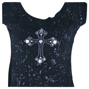 Cutegirl Studded T Shirt Black Silver