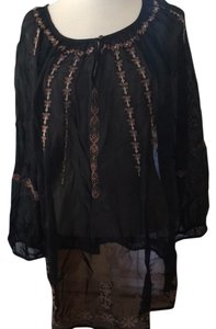 Lucky Brand Embroidered Lightweight Boho Top black