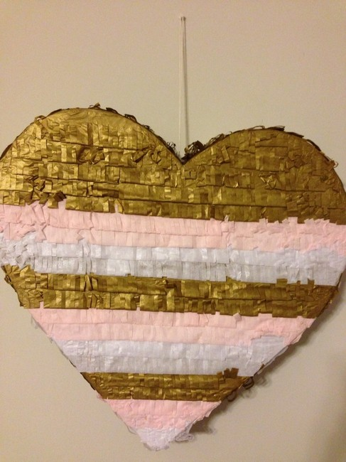 Item - Pink. White. Gold Fringe Heart Pinata