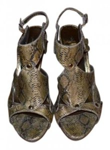 Bakers Metallic Gold Snake Print Sandals