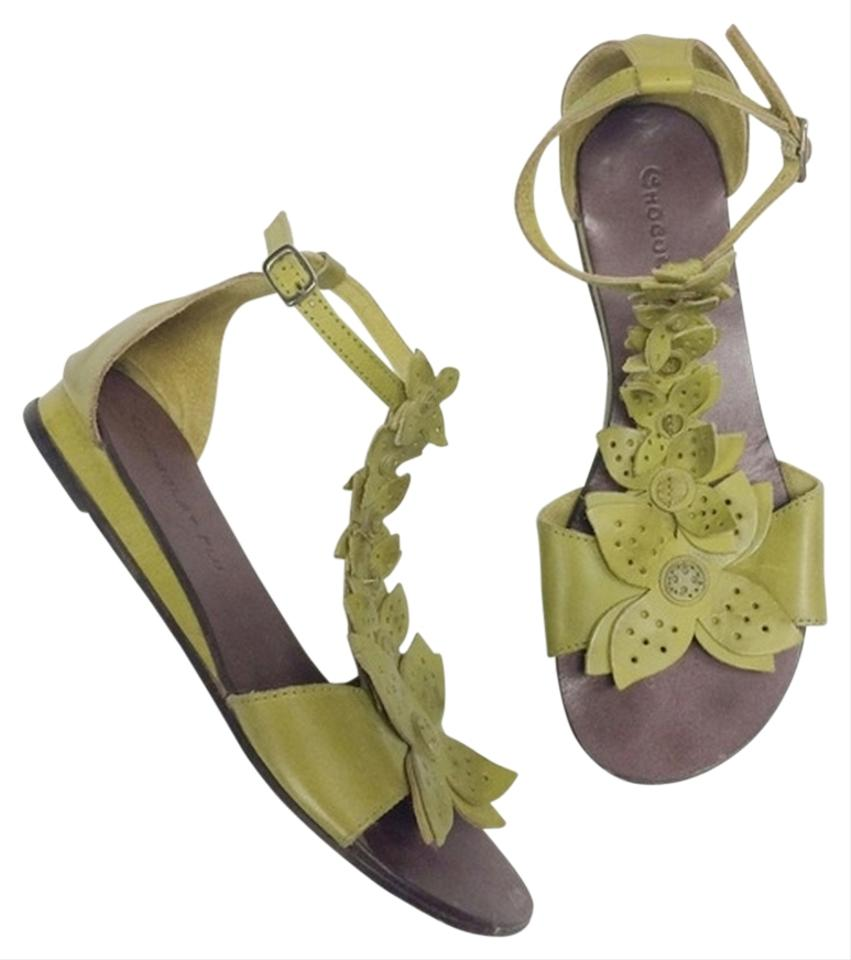 506fff4a73f6 Chocolat Blu Lime Green Leather T-strap Sandals. Size  US 7 Regular (M ...