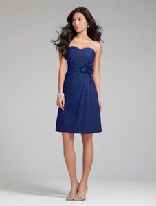 Alfred Angelo Navy Chiffon Style 7180s Traditional Bridesmaid/Mob Dress Size 14 (L)