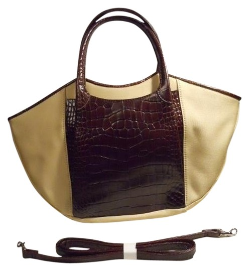 Preload https://item5.tradesy.com/images/maxx-new-york-convertible-tan-and-brown-polyester-leather-trim-tote-1231639-0-0.jpg?width=440&height=440