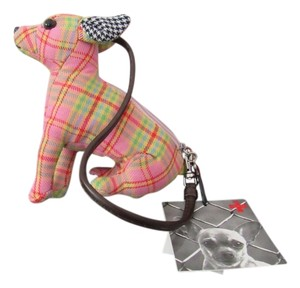 FUZZY NATION Dog Shaped Wristlet in pink and green plaid