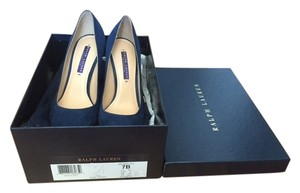 Ralph Lauren Collection Pump Suede Denim New Navy Blue Pumps