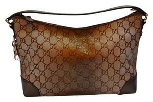 Gucci Brown Heart Metallic Monogram Hobo Bag