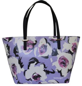 Kate Spade Rose Floral Coated Canvas Tote in Lavender