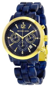 Michael Kors Blue Acetate Bracelet Gold tone with Crystal Accents Designe Fashion Watch