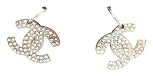 Chanel Silver-tone Chanel crystal embellished interlocking CC drop earrings