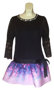 Meisslie short dress Black/ fuchsia/ lavender on Tradesy