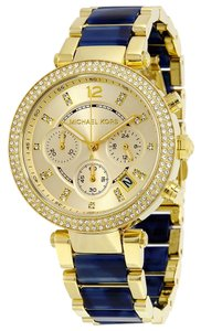 Michael Kors Blue and Gold tone Crystal Pave Designer Fashion Watch
