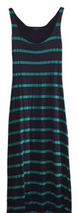 Navy with aqua stripes Maxi Dress by Soprano