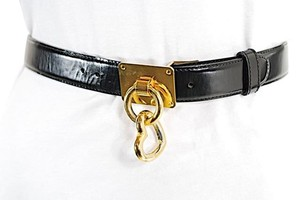 Moschino MOSCHINO Black 100% Leather Belt w/Gold Buckle + Heart Charm