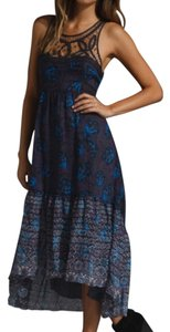 navy blue and black combo Maxi Dress by Free People Hobo Full Length Floral