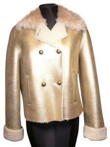 Sprung Freres Alpaca Shearling Leather Gold Leather Jacket