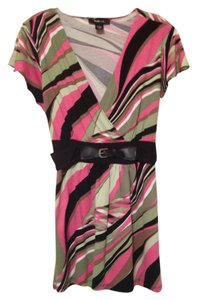 Style & Co Top black, pink, green, white, brown