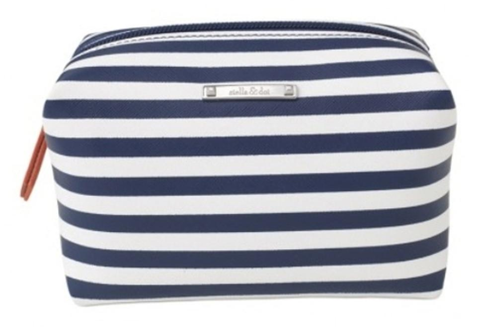 Stella Dot Pouf In Navy Stripe Cosmetic Bag Tradesy Magnificent Stella And Dot Pouf