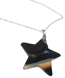 Other Sterling Silver Star Black Agate Gemstone Necklace Pendant N213