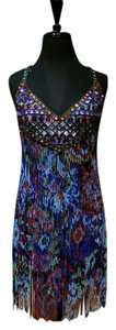 Jenny Packham Beaded Chiffon Aztec Dress