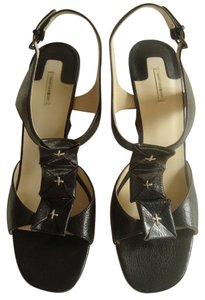 Max Studio Leather Slingback High Heel black Sandals