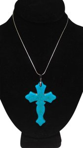 Other Sterling Silver Turquoise Cross Pendant Necklace N217