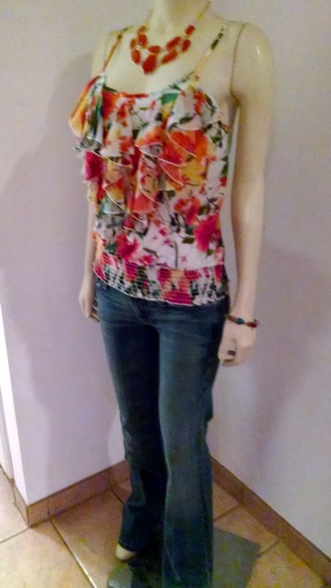 Forever 21 Size Small Floral Sleeveless Top orange, brown, ivory, green, yellow Image 6