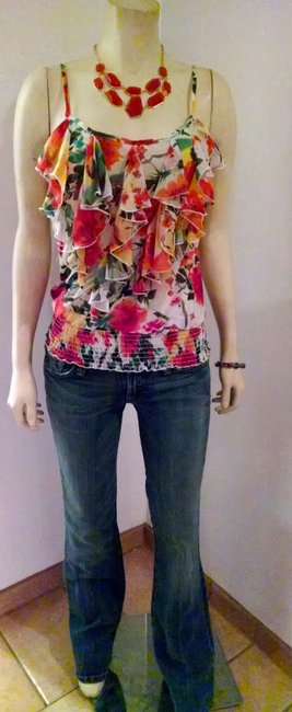 Forever 21 Size Small Floral Sleeveless Top orange, brown, ivory, green, yellow Image 7