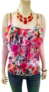 Forever 21 21 Sleeveless Floral Ruffled Front Stretch Waist Loose Fit Waist Summer Cute Top orange, brown, ivory, green, yellow