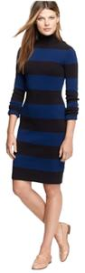 J.Crew short dress Blue / black stripe on Tradesy