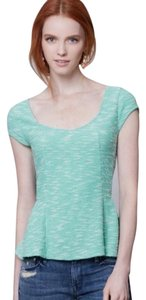 Anthropologie Postmark Endash Green Peplum Knit Top