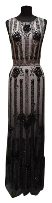 Jenny Packham Beaded Art Deco Crystal Jet Dress