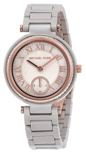 Michael Kors Grey Ceramic Bracelet Rose Gold and Crystal Accents Ladies Dress Watch