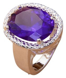 Other Gorgeous giant purple crystal silver cocktail ring. size8